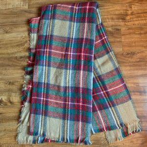 Multicolored Plaid Blanket Scarf